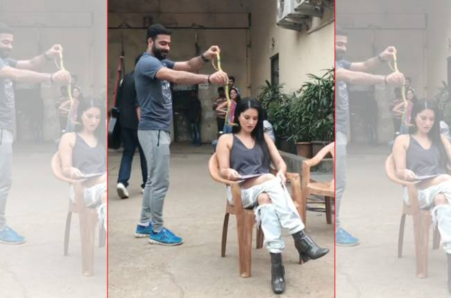 Sunny Leone takes her revenge from the man who threw a snake on her